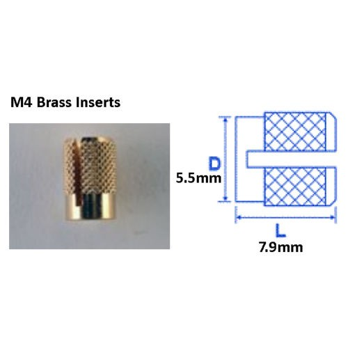 Pack of 25 M4 Brass Inserts